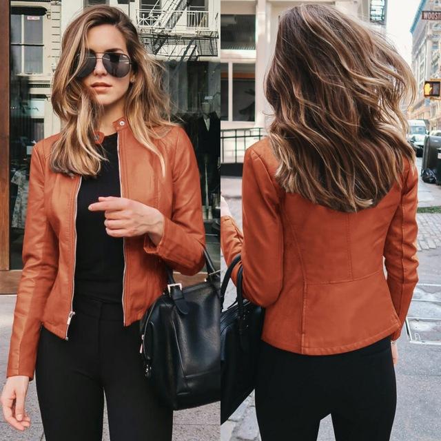 Women Faux Leather PU Jacket Long Sleeve Black Blue Brown Green