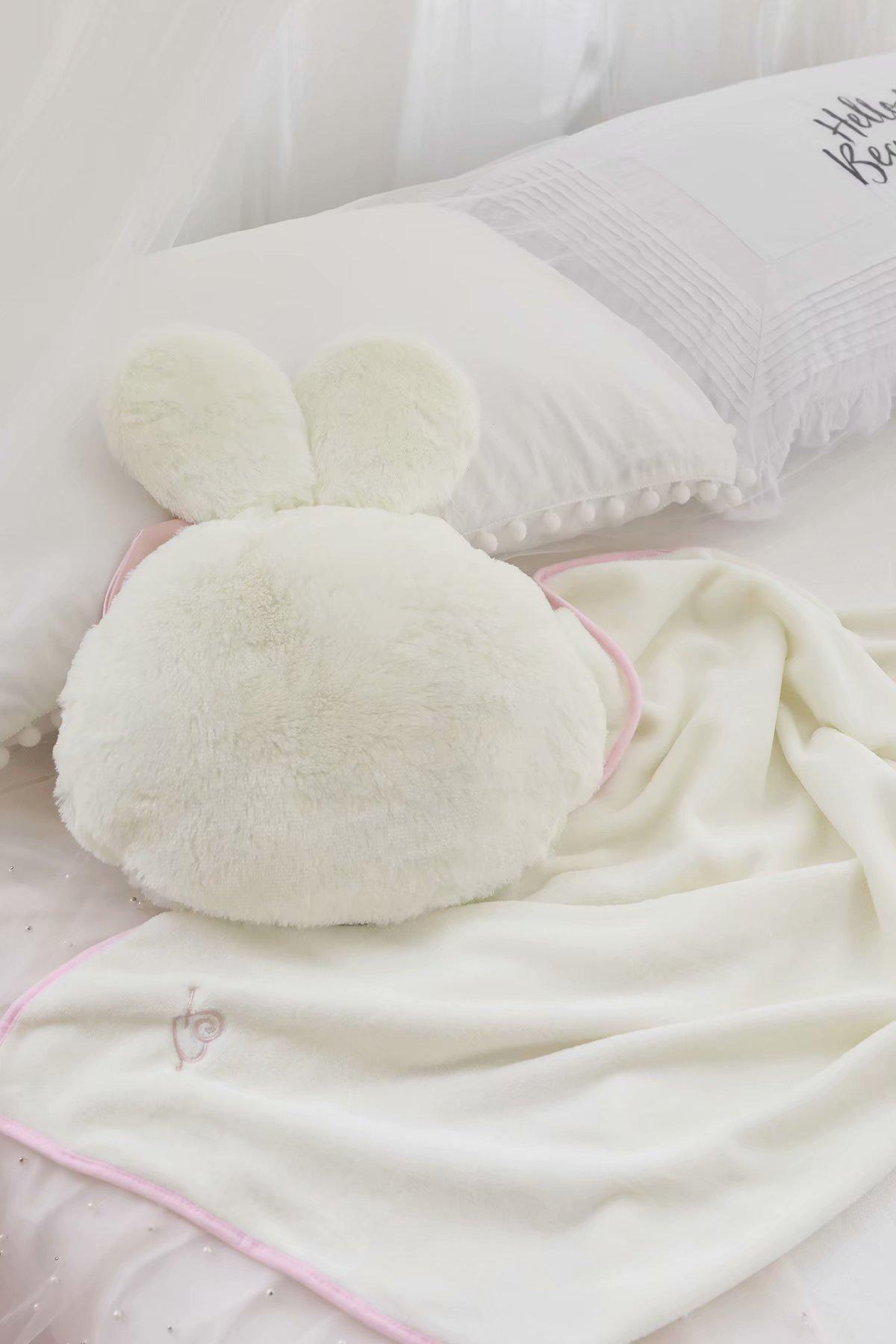 no travesseiro coelho bowknot rodada travesseiro cobertor