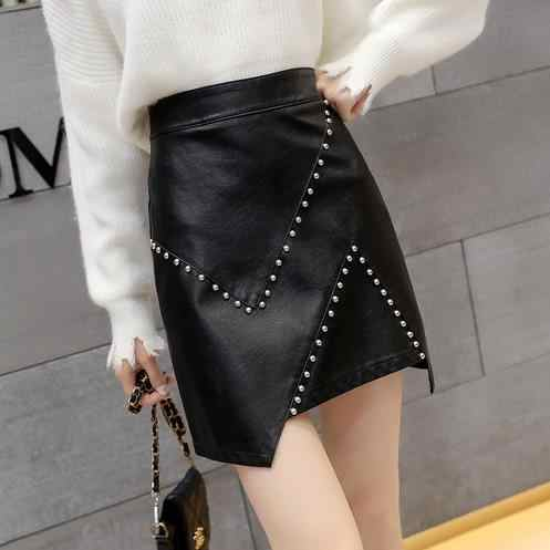 Women Faux Leather Short Skirt Rivet Autumn Summer Harajuku Vintage High Waist Harajuku PU A-Line Skirt With Bow Female LJ760