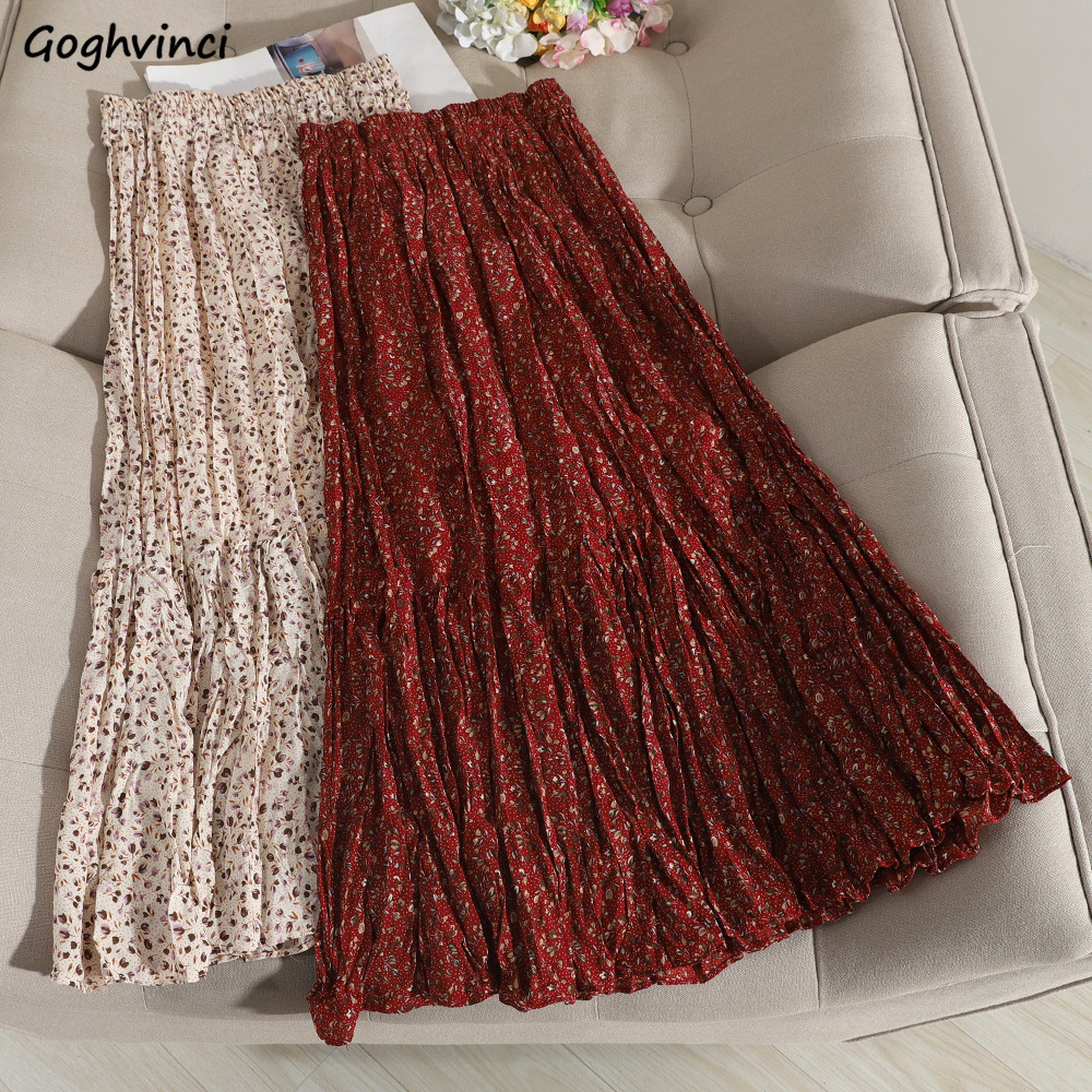 Skirts Womens Floral Vintage Pleated Korean Style Retro Elastic Waist Various Colors All-match Comfortable Trendy Daily Fashion