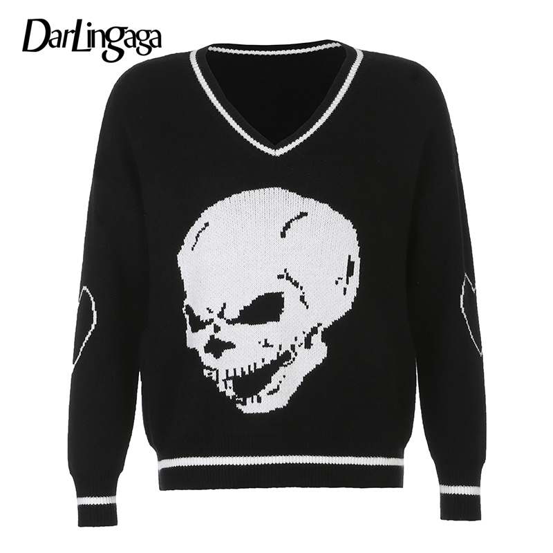 Darlingaga Gothic Skull Print Autumn Winter Woman Sweaters Fashion Loose Y2K Pullover Harajuku Knitted Sweater Ladies Pull Femme 8