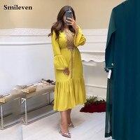 Smileven Yellow Moroccan Kaftan Formal Evening Dress Gold Lace Beaded Arabic Muslim Dress Dubai Special Occasion Dresses