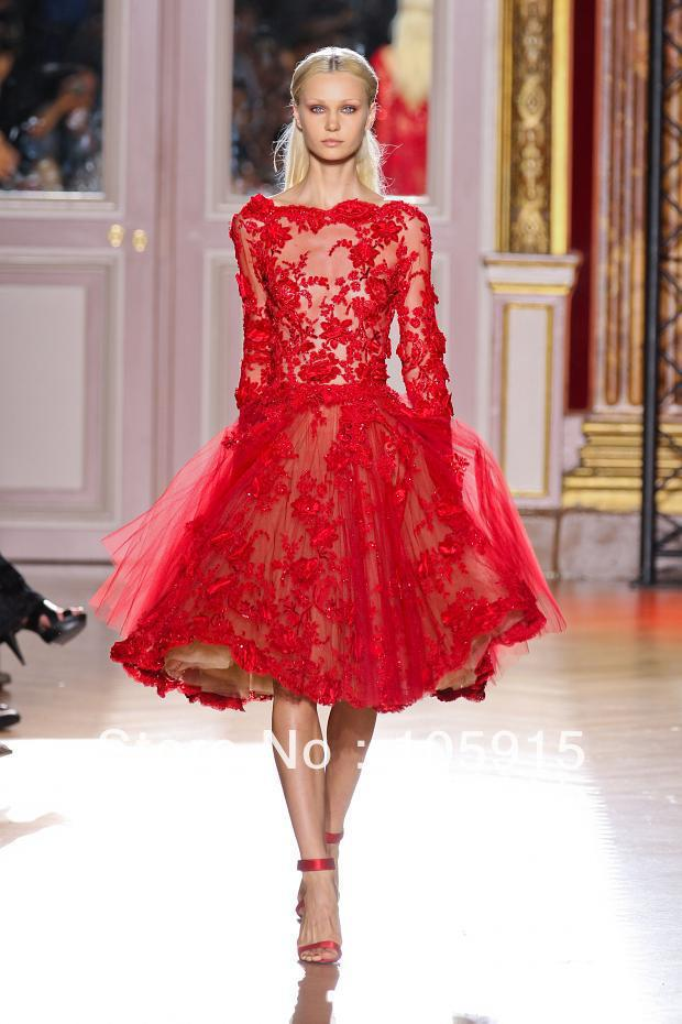 Zuhair Murad Red See Through Lace Beads Cocktail Dresses Short Prom Dresses Elastic Satin RS-38