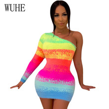 WUHE Sexy One Shoulder Long Sleeve Cashmere Print Gradient Slim Dress Elegant Hollow Out Patchwork Bodycon Party Short