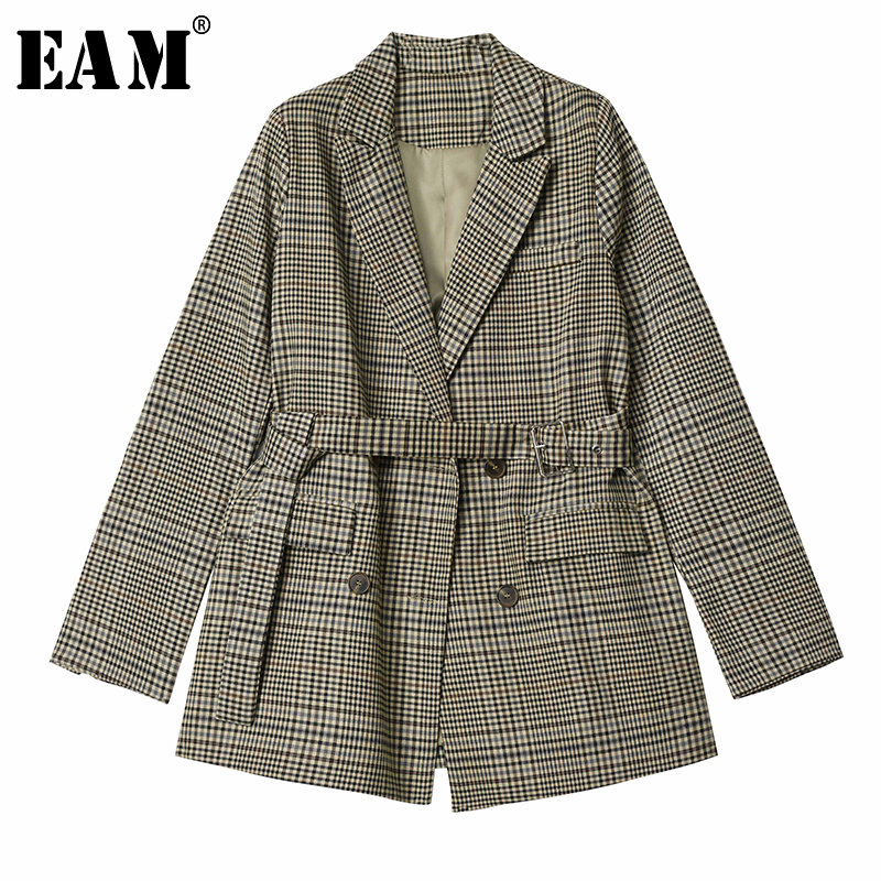 [EAM]  Women Plaid Waist Bandage Temperament Blazer New Lapel Long Sleeve Loose Fit  Jacket Fashion Spring Autumn 2019 1D598