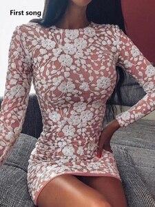 Primeira música Floral Elegante das Mulheres Sexy Vestido de Lantejoulas 2019New Outono Pacote Deluxe Mini Vestido Irregular Ruched vestido de Festa Clube Vestidos