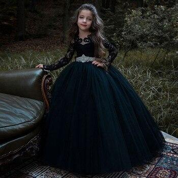 Kids Custom Black Lace Crystal Sash Flower Girl Dresses For Wedding Full Sleeve First Communion Princess Gowns Christening Dress