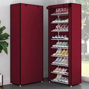 Image 5 - Simple Non woven Cloth Fabric Dustproof Shoe Rack Folding Assembly Metal Shoe Rack Home Shoe Organizer Cabinet