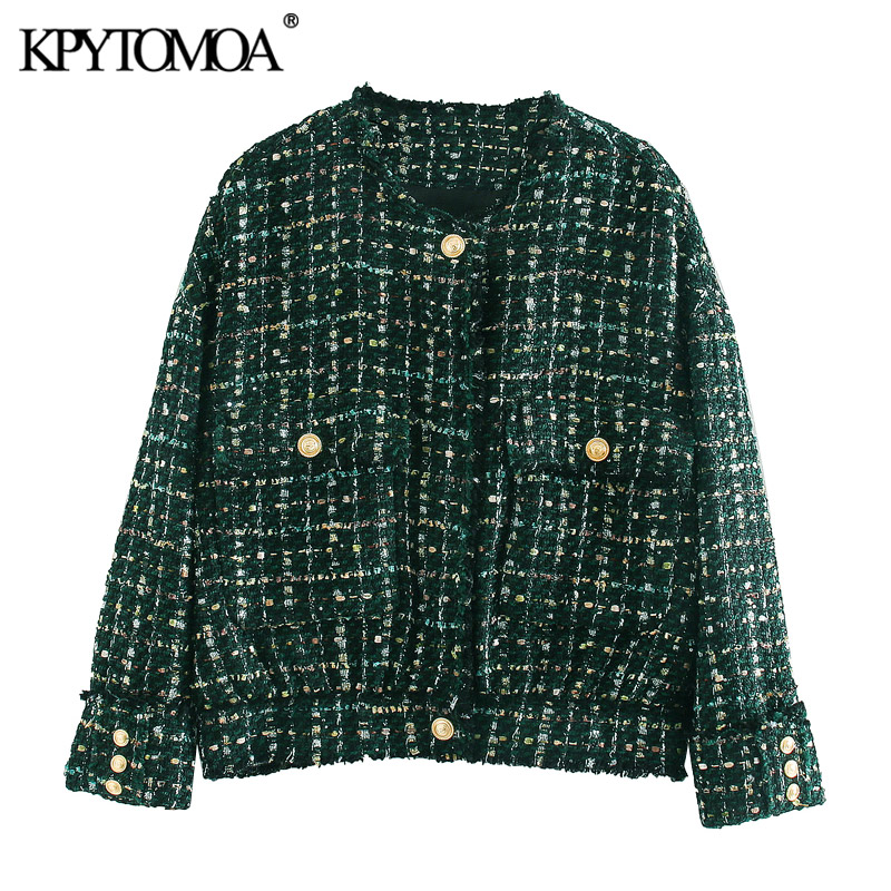 KPYTOMOA Women 2020 Fashion With Buttons Frayed Tweed Jacket Coat Vintage O Neck Long Sleeve Pockets Female Outerwear Chic Tops
