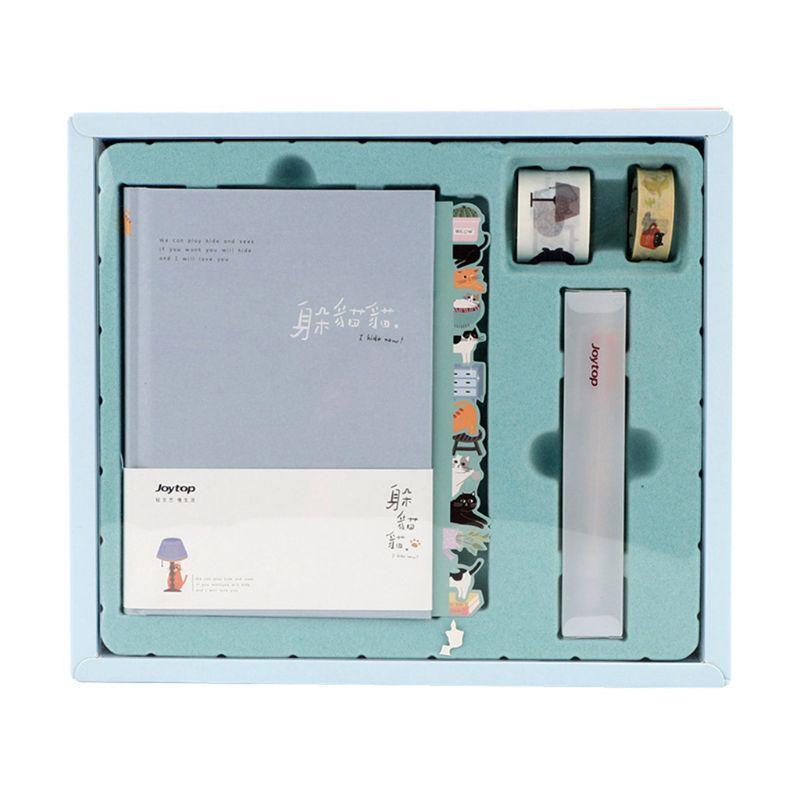 1 conjunto lista kawaii diário caderno mão livro planejador papelaria com fita régua estudante