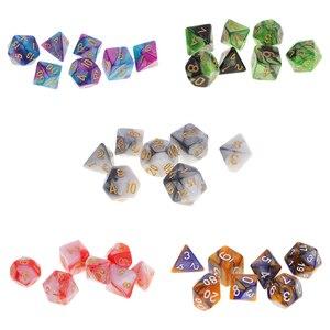 7 шт многогранные игральные кости многогранные игровые кубики Набор для RPG подземелья и драконов DND RPG MTG D20 D12 D10 D8 D6 D4 настольная игра