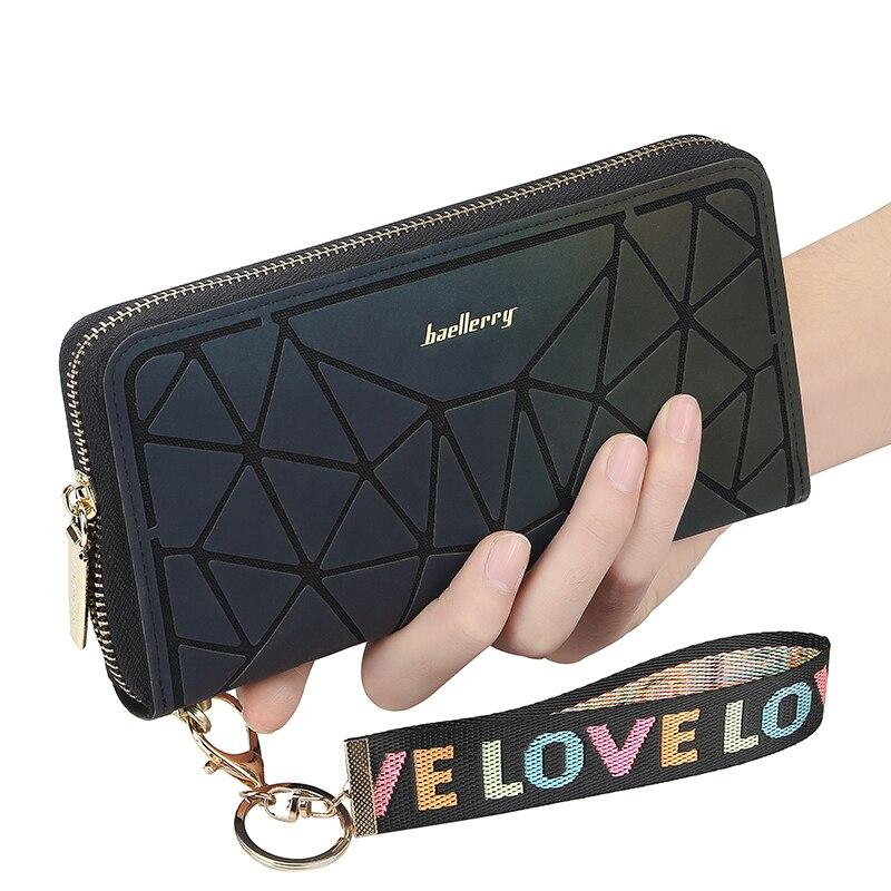 Hot Sale Women's Leather Wallet Fashion Zip Phone Bag Women's Diamond Long Clutch Gradient Symphony Bag