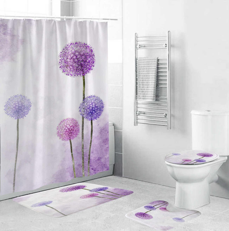 Bathroom Pretty Leaf Shower Curtain Toilet Cover Mat Non-Slip Rug Set  1