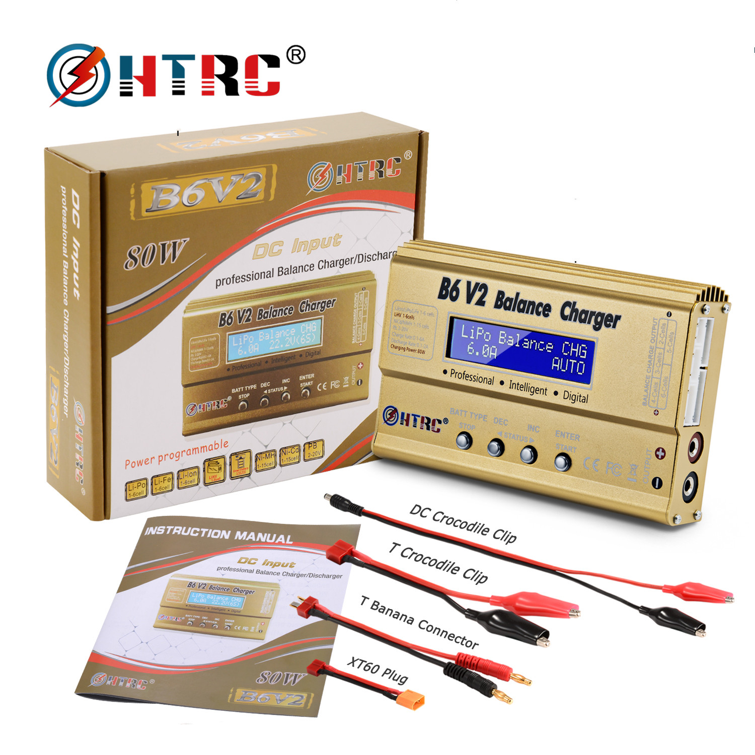 HTRC Imax b6 v2 Balance Charger 80W Professional For LiHV LiIonLiFe NiCd NiMH PB Battery LiPo Charger Digital Discharger|Chargers| - AliExpress