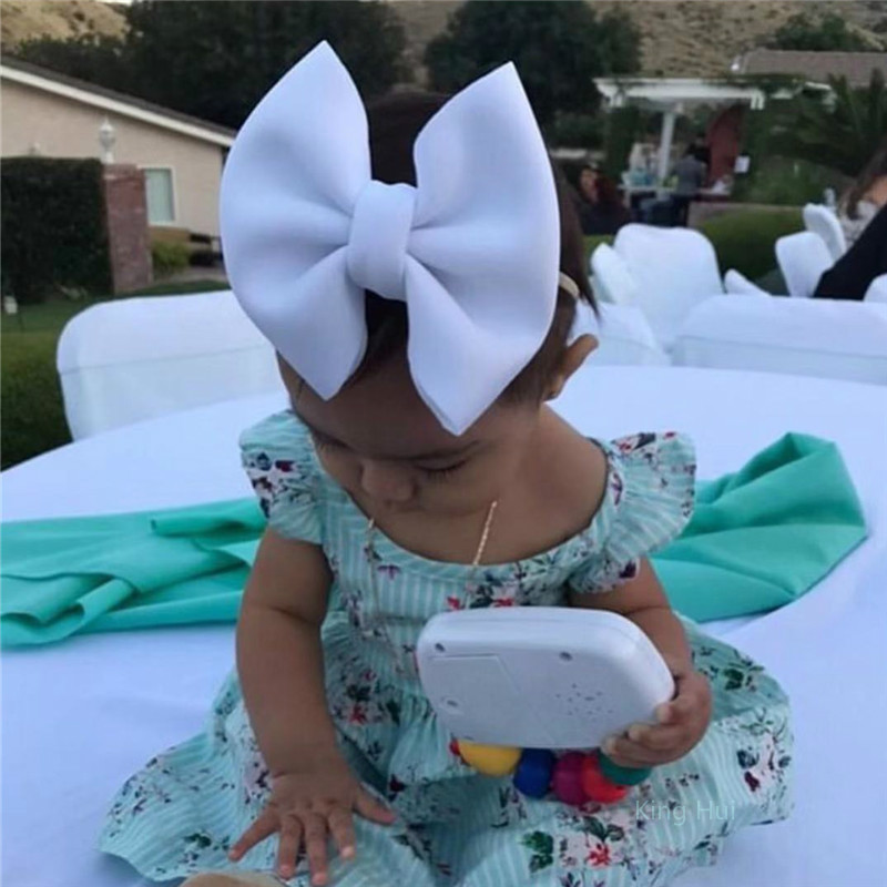Over Size Bow Baby Girls Headband Nylon Nude Hairband For Girls Hairbow Headbands Newborn Turban Large Bow Headwear For Kids