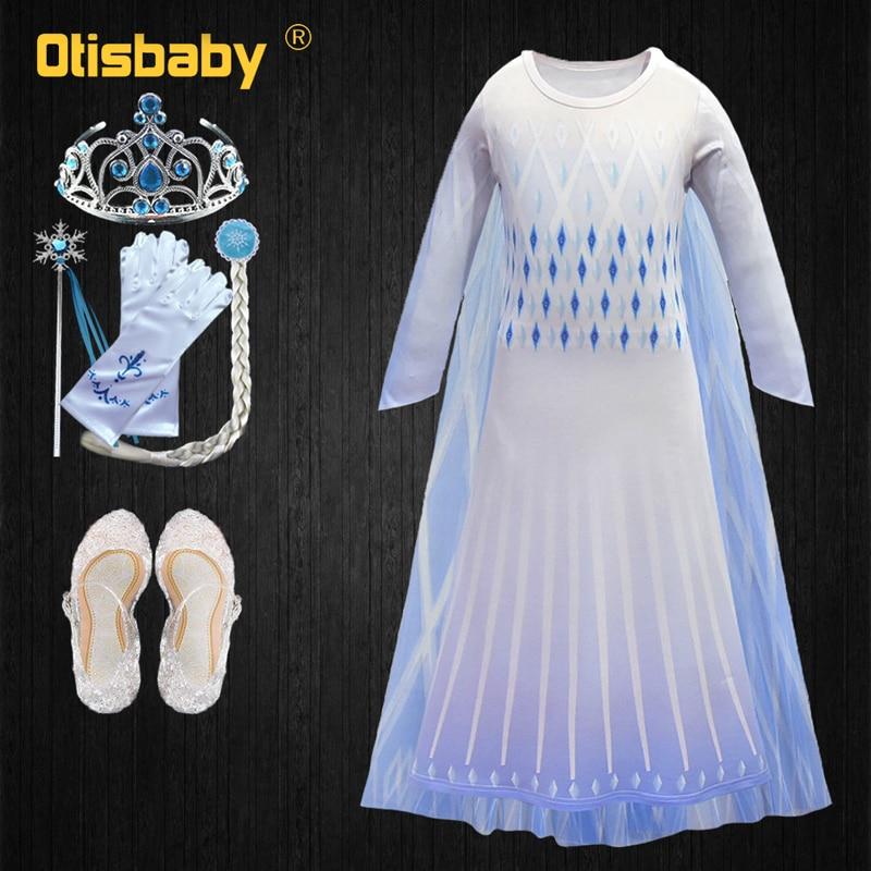 Snow Queen 2 White Girls Anna Elsa Dress Halloween Costume Child Christmas Children Gowns Infant Chrismas Kids Holiday Dress|Dresses| |  - title=