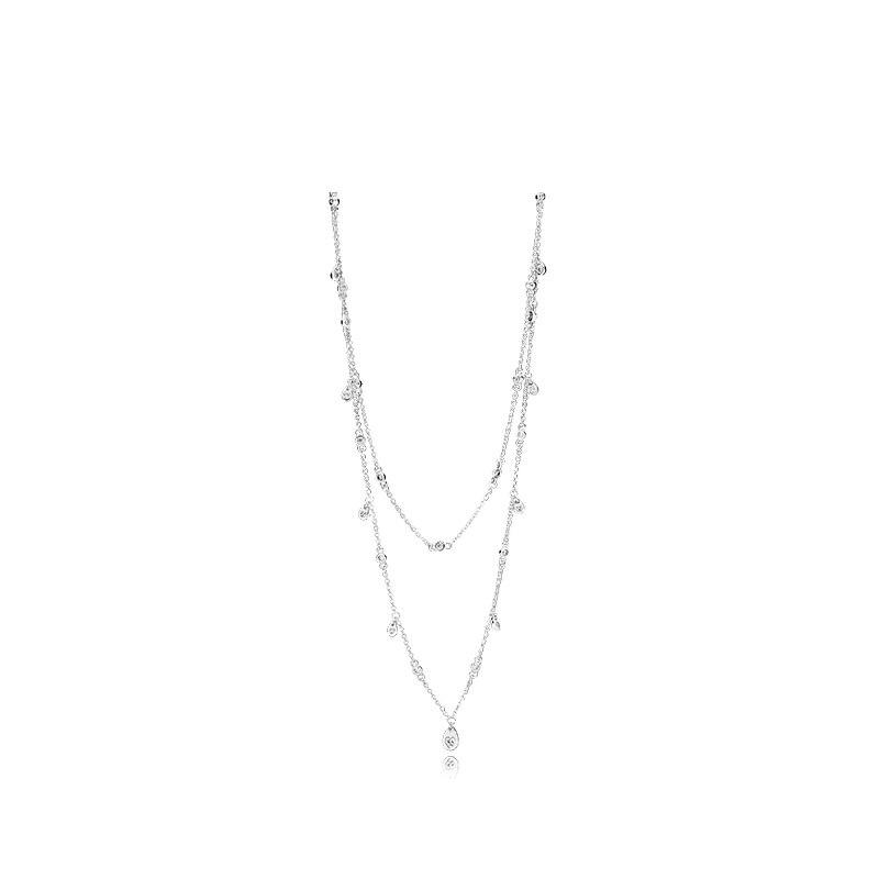 SHINETUNG PAN 1:1 S925 en argent Sterling véritable plafonnier goutte d'eau collier à la mode femmes logo Romance bijoux haut de gamme