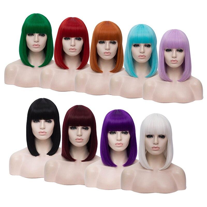 Gaka curto bob peruca cabelo sintético branco