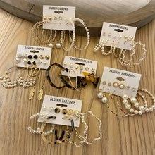 Elegante Vintage perlas de juego de pendientes para mujeres de gran círculo pendientes de aro de Metal geométrico pendiente Punk 2021 joyas oído