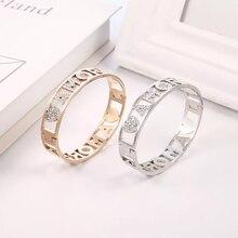 Pulseras personalizadas para hombre y mujer, brazalete de cobre, joyería con nombre de circonio, regalo para el día de la madre, regalo para novio