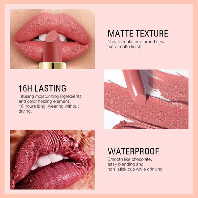 SACE LADY 12 Colors Lips Makeup Waterproof Silky Matte Lipstick Long Lasting Moisture Lipstick Matte Red Lip stick Cosmetic 4