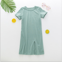 2020 new arrival baby girls solid color short sleeve long dress
