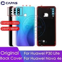 מקורי עבור Huawei P30 Lite סוללה כיסוי + מצלמה זכוכית עדשת 24MP/48MP עבור Huawei nova 4e דלת אחורית החלפת חלקי תיקון
