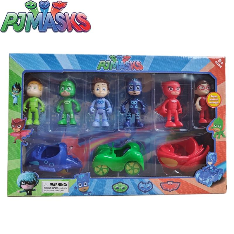 New Pj Masks Toy Set Juguete Catboy Owlette Gekko Anime Figure Toys Sets Children Outdoor Sports Toys Kids Birthday Gifts