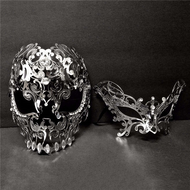 Silver Metal Skull Venetian Butterfly Masquerade Couple Masks Set The Beast and Beauty Prom Full Face