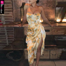 Abstract Print Spaghetti Strap High Slit Ruched Dress Women Stretch Sleeveless S