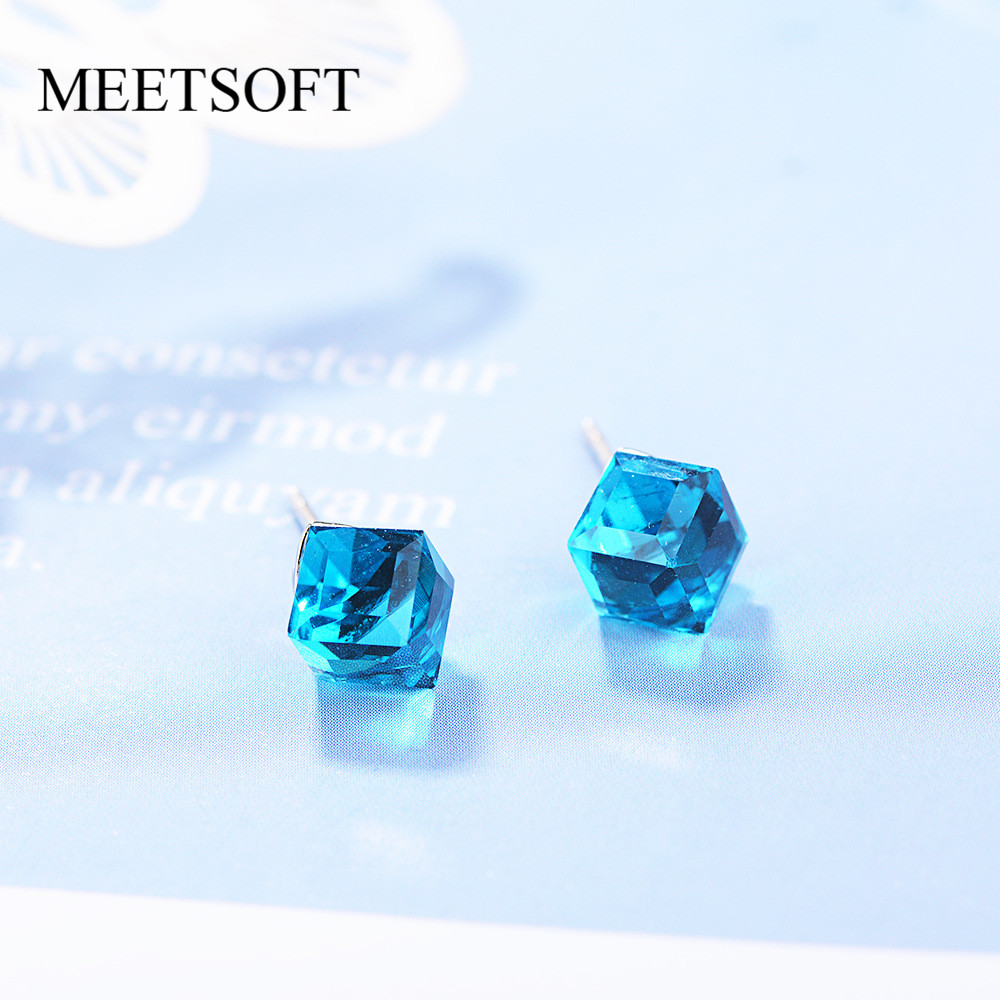 MEETSOFT 925 Sterling Silver Prevent Allergy  Stud Earrings For Women Design Trendy  Small Gradient Crystal Cube  Jewelry Gift