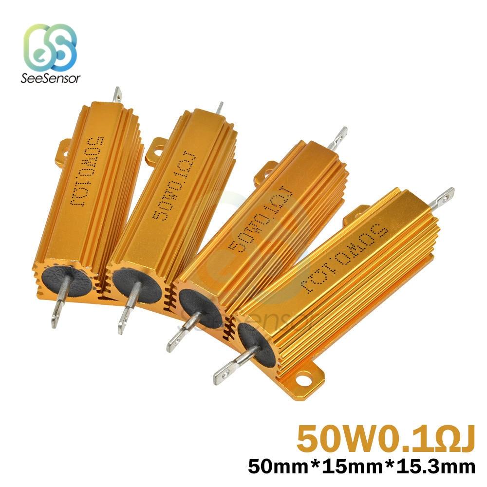 1Pcs Gold Tone 100W 300 Ohm 5/% Aluminum Wire Wound Resistor