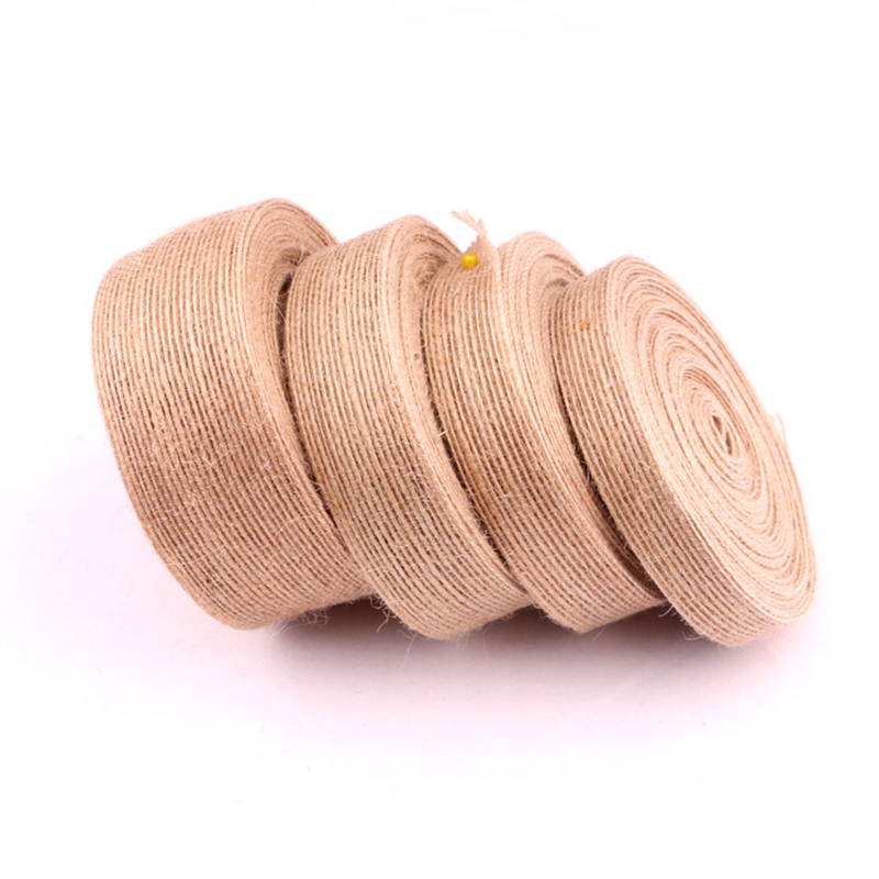 10m Lot Natural Jute Burlap Ribbon Diy Gift Warrping Vintage Ribbon Festival Festival Decoration Party Crafts in Ribbons from Home Garden