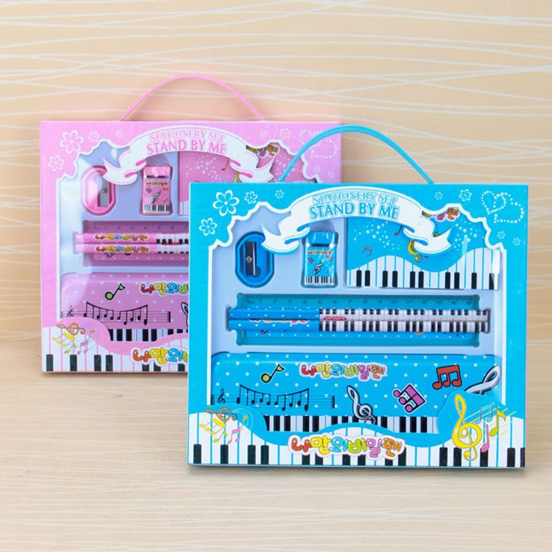 Music Piano Note Pencil Ruler Earser Sharpener 7 In 1 Stationery Set For Boys Girls Kids Student Gift School Office Supply