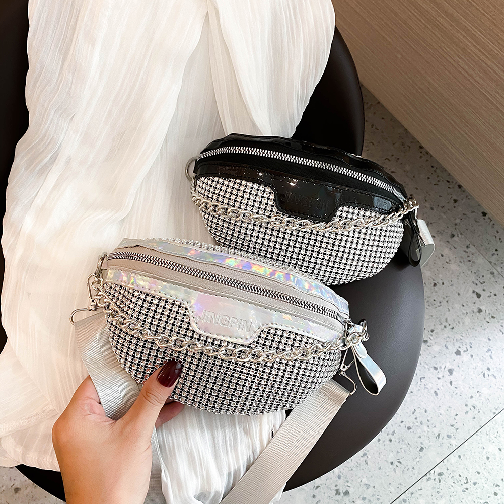 Fashion Rhinestone Fanny Chest Pack For Women Chain Zipper Waist Phone Belt Pouch Shiny Ladies Crossbody Shoulder Bags