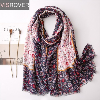 Visrover 2020 New Summer Floral Scarf For Women Shawl Bohemian Scarf Boho Chic Hijab Scarves Beach Dresses Wrap Scarfs Women chic exuberant peonies and leaves pattern shawl wrap chiffon scarf for women