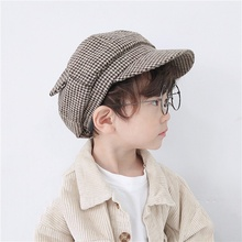 Baby Kids Toddler Infant Dome Beret Cap Headwear Classic Plaid Pattern Octagonal Hat Retro Style Caps Boy Girl Autumn