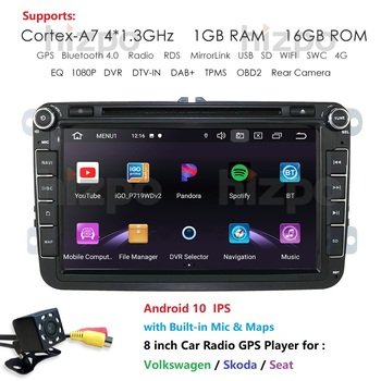 Two Din Car Multimedia Player Android 10 Auto Radio For Skoda/Seat/Volkswagen/VW/Passat b7/POLO/GOLF 5 6 DVD GPS 4 Cores IPS USB image