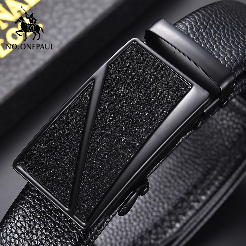 NO.ONEPAUL Men's Belt Cow Leather Business Automatic Buckle Black Genuine Leather Belts For Men Best Quality Male Waist Belt