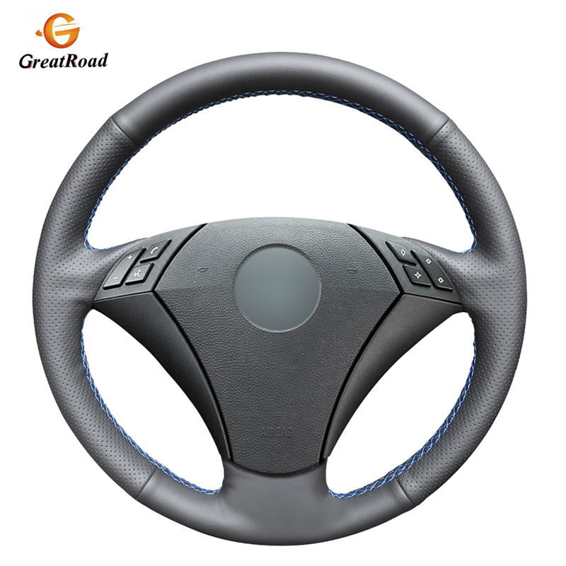 Hand-stitched Black PU Artificial Leather Steering Wheel Cover for <font><b>BMW</b></font> 530 523 523li 525 520li 535 <font><b>545i</b></font> <font><b>E60</b></font> image