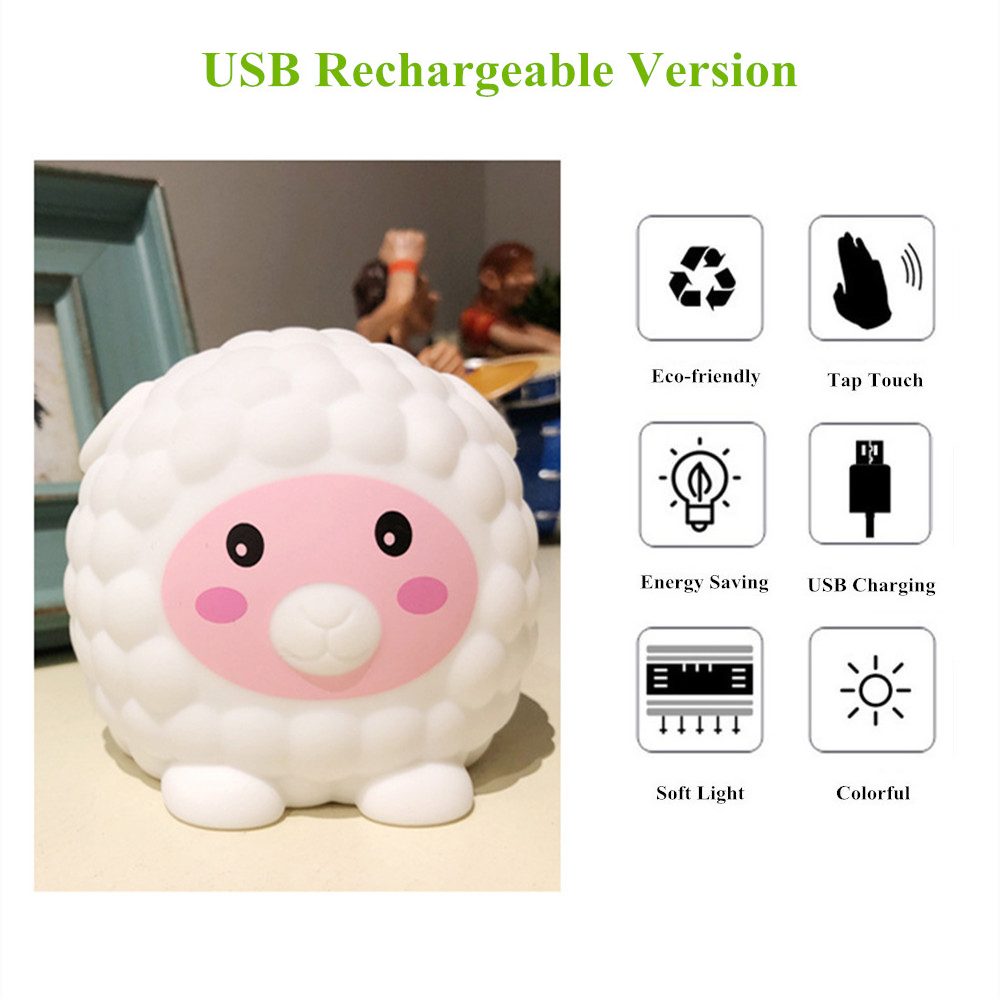 Touch Sensor Colorful LED Sheep Night Light USB Rechargeable Silicone Animal Lamp Bedroom Bedside Lamp for Children Kids Baby
