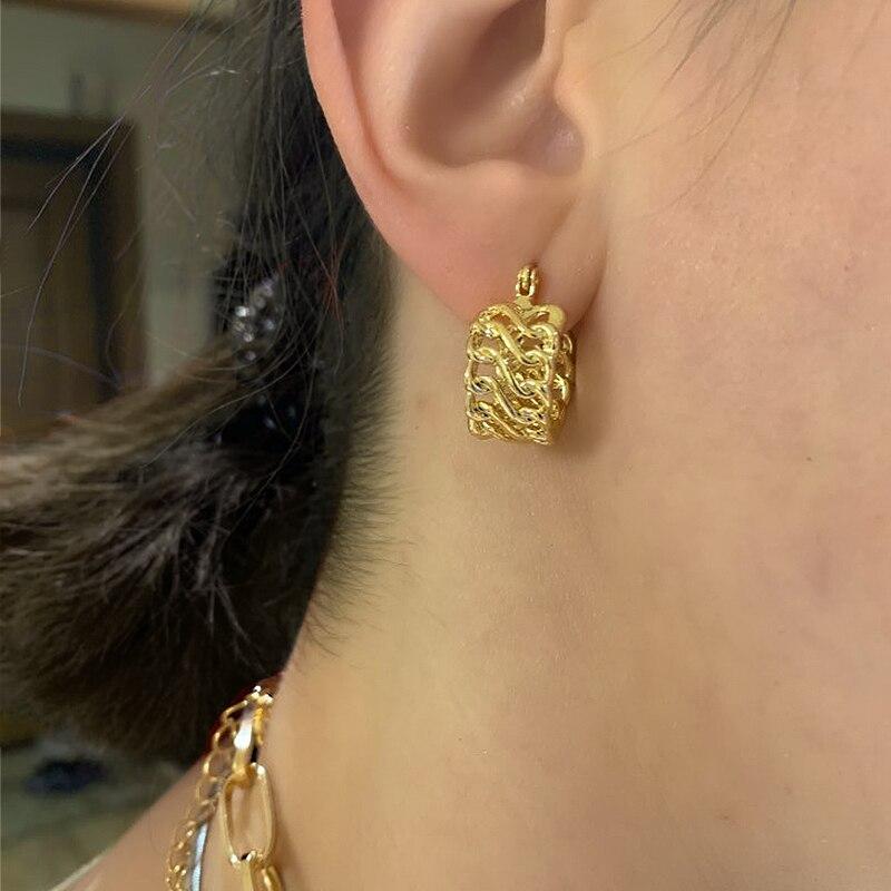 JOUVAL Koreanische Runde Hoop Ohrringe Für Frauen Guality Glanz Legierung Kreis Dicke Breite Ohrring Ohr Ring Weibliche kpop Nette Brincos