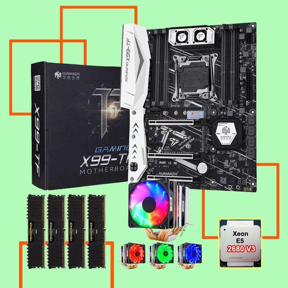 HUANANZHI X99-TF LGA2011-3 carte mère paquet avec double M.2 NVMe SSD slot M.2 WIFI slot CPU 2680 V3 RAM 64G (4*16G) DDR4 2400