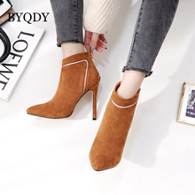BYQDY Ankle Boots For Woman High Thin Heels Fashion Flock Booties Zipper Warm Sexy Pumps Wedding Party Shoes Autumn Winter