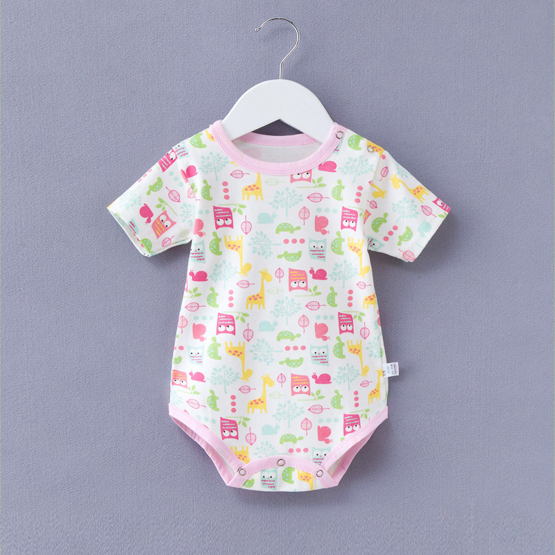 Summer 0 A 1-Year-Old Baby Home New Style Pure Cotton Short Sleeve Cartoon Animal Printed Triangular One-piece Romper Climbing C