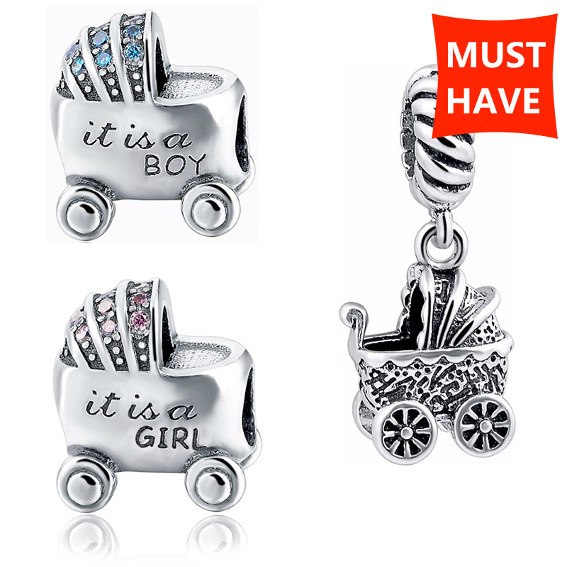 StrollGirl diy beads Baby boy and girl carriage charms collection sivler color 925 fit authentic bracelet jewelry making gifts