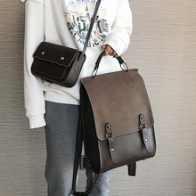 패션 배낭 여성 2pcs 세트 배낭 PU 가죽 학교 가방 여자 캐주얼 스타일 A4 용지 빈티지 배낭 어깨 가방