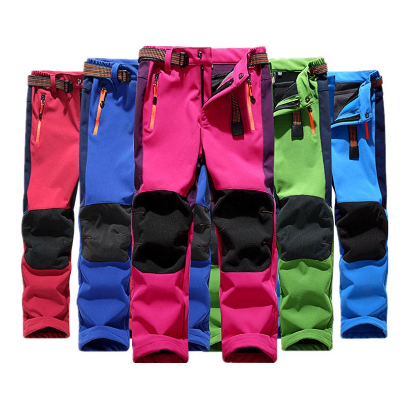 Children Fleece Hiking Pants Waterproof Kids Fleece Warm Sports Trousers For Teen Boys Girls 5-14 Years Climbing Pants TX143