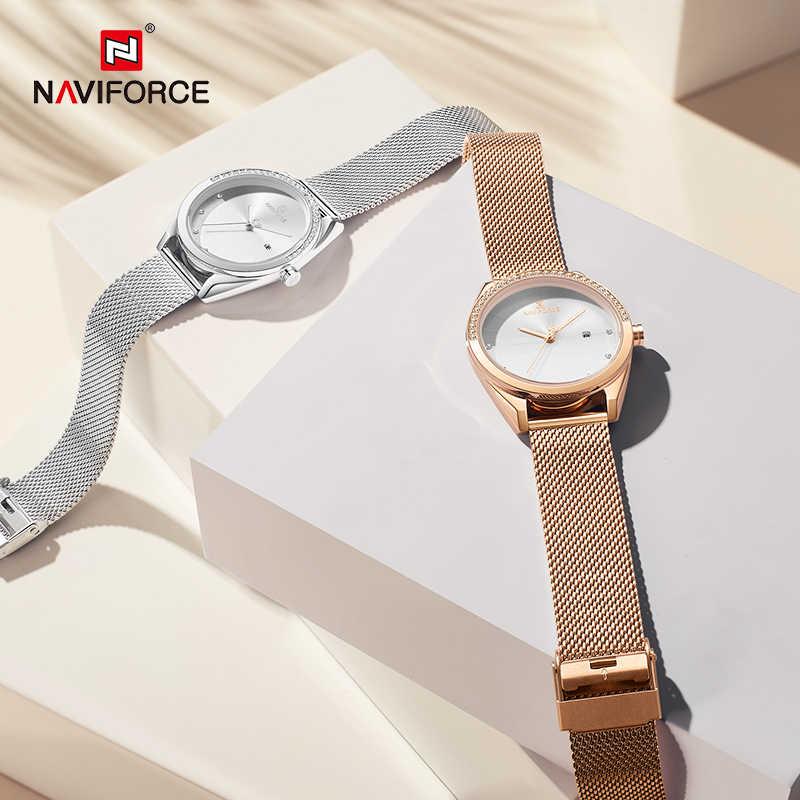 Marca de luxo superior naviforce relógios das mulheres rosa ouro elegante senhoras relógio de pulso pulseira aço à prova dwaterproof água feminino meninas relógio