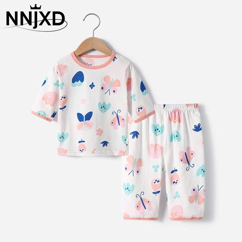 Summer Baby Girls Short Sleeves Shirt Short Pants Pajama Sets Kids Boys Home Wearing Air-conditioned Clothing Children Sleepwear